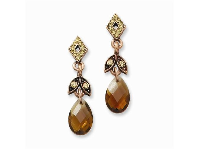 1928 Copper-tone Lt. Colorado & Brown Crystal Post Dangle Earrings
