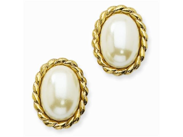 1928 Gold-tone Cultura Glass Pearl Oval Button Post Earring