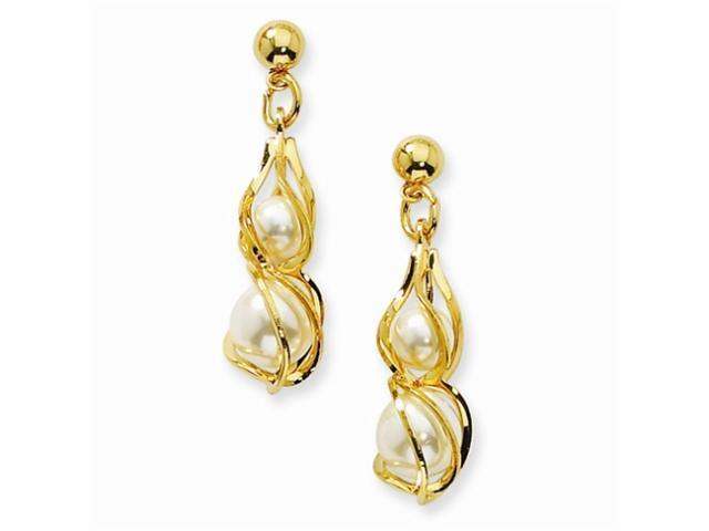 1928 Gold-tone Swirled Cultura Glass Pearl Post Earrings