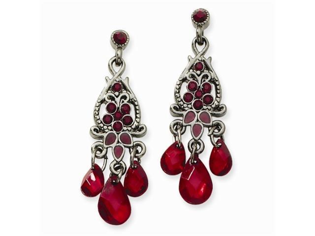 1928 Black-plated Red Crystal Tri-Teardrop Chandelier Post Earrings
