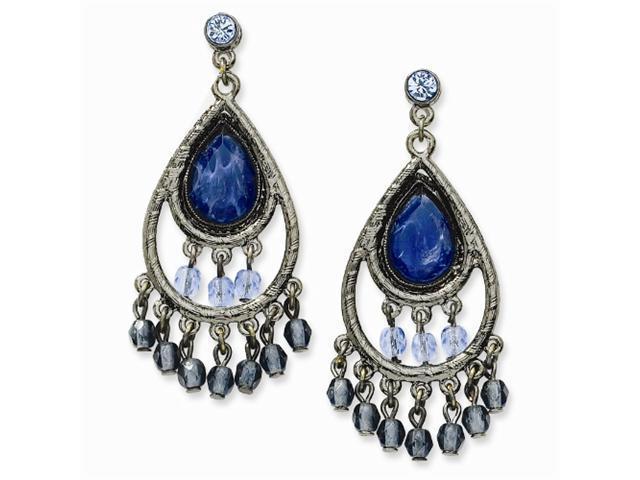 1928 Black-plated Lt & Dk Blue Crystal Chandelier Post Earrings