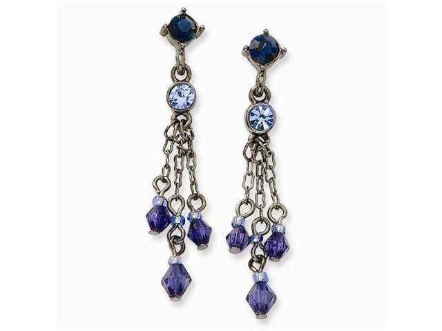 1928 Black-plated Lt & Dk Blue Crystal Tassel Post Earrings
