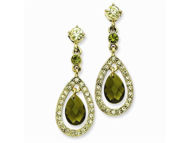 1928 Brass-tone Green/Jonquil Crystal Teardrop Post Earrings