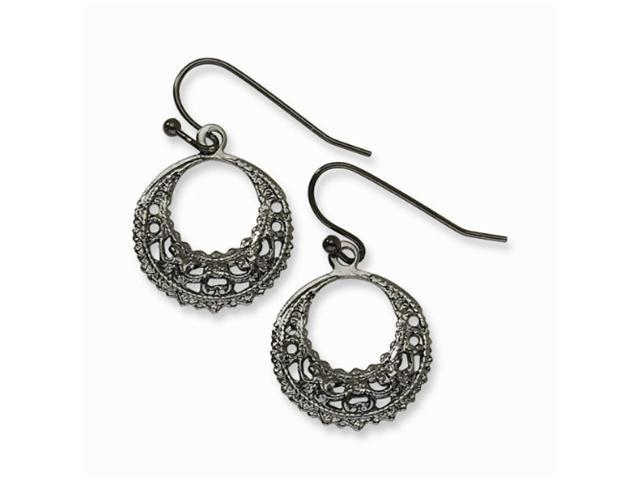 1928 Black-plated Fancy Hoop Dangle Earrings