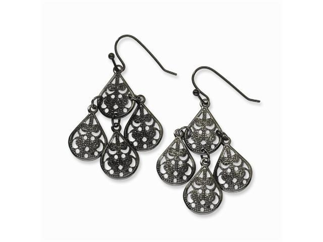 1928 Black-plated Chandelier Dangle Earrings