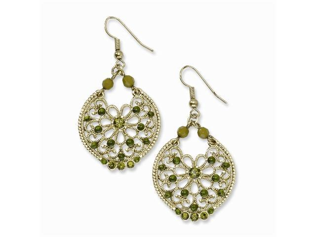 1928 Brass-tone Filigree with Green Crystals Dangle Earrings