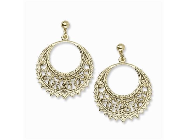 1928 Brass-tone Fancy Hoop Post Dangle Earrings