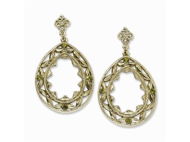 1928 Brass-tone Green Crystal Teardrop Post Dangle Earrings