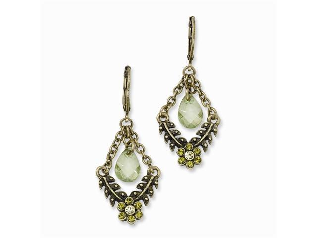1928 Brass-tone Light Green Crystal Leverback Earrings