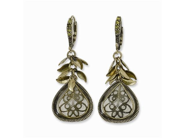 1928 Brass-tone Filigree Teardrop Light Green Crystal Leverback Earrings
