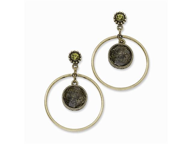 1928 Brass-tone Round Filigree Flower w/ Green Crystal Post Dangle Earrings