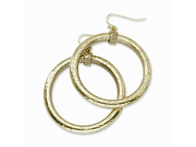 1928 Brass-tone Large Hoop Dangle Earrings