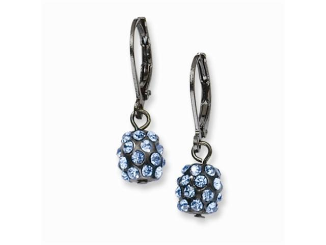 1928 Black-plated Blue Crystal Fireball Leverback Earrings