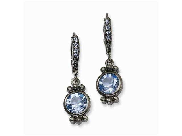 1928 Black-plated Light Blue Crystal Leverback Earrings