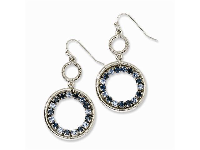 1928 Silver-tone Lt/Dk Blue Crystal Circle Drop Earrings