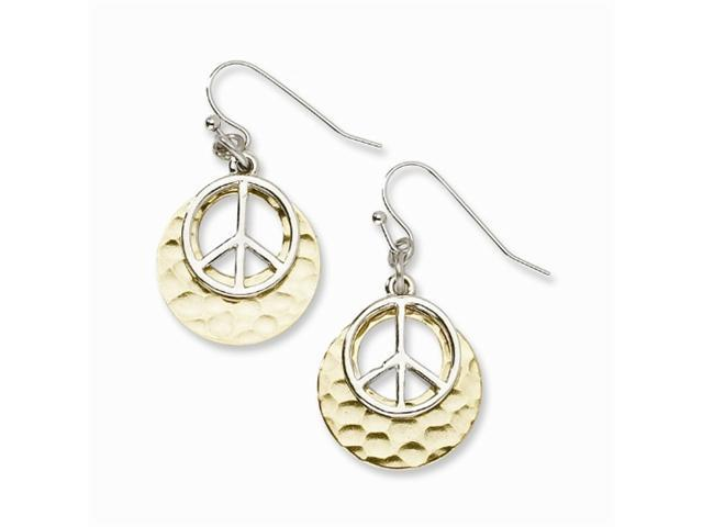 1928 Gold-tone with Silver-tone Peace Symbol Drop Earrings