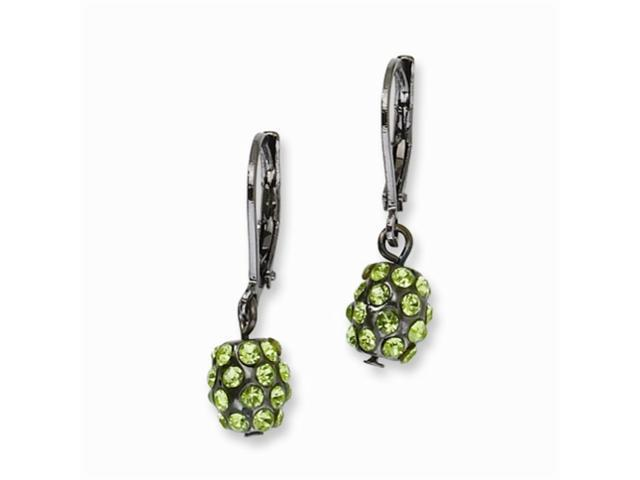 1928 Black-plated Green Crystal Fireball Leverback Earrings