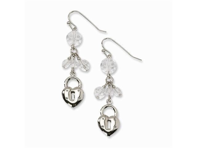 1928 Silver-tone Heart & Lock with Clear Crystals Earrings