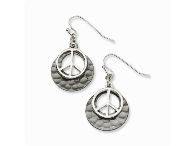 1928 Black-plated with Silver-tone Peace Symbol Drop Earrings