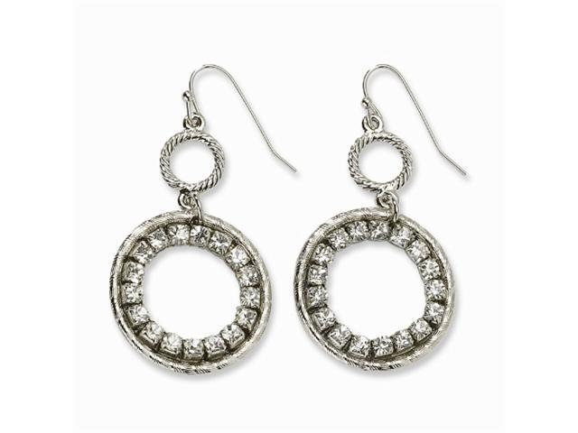1928 Silver-tone Clear Crystal Circle Drop Earrings