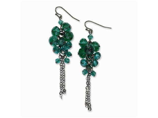 1928 Silver-tone Turquoise Crystal Bead Cluster Drop Earrings