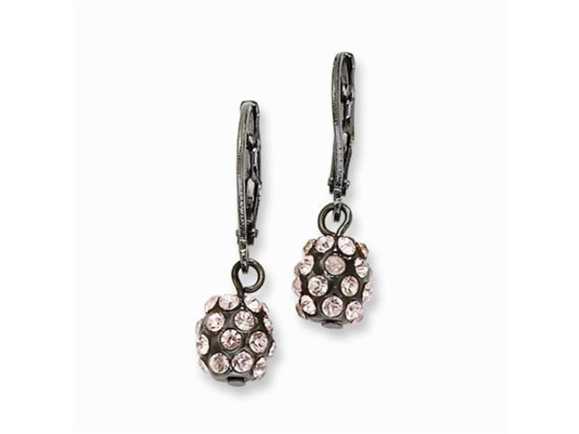 1928 Black-plated Pink Crystal Fireball Leverback Earrings