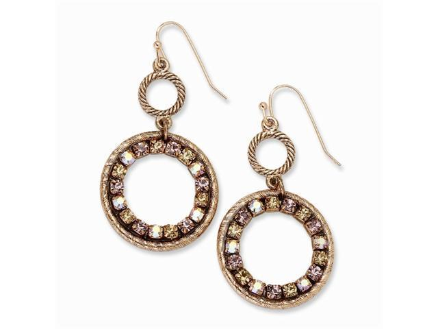 1928 Copper-tone Purple, Pink & Colorado Crystal Circle Dangle Earrings