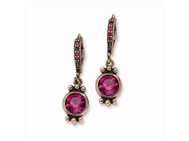 1928 Copper-tone Dark Pink Crystal Leverback Earrings