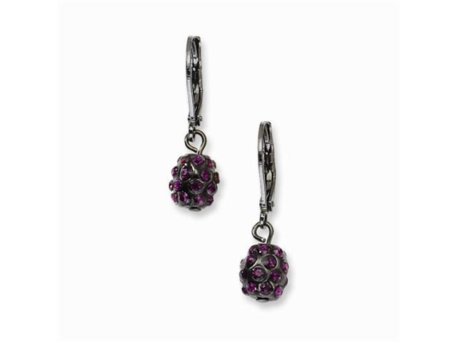 1928 Black-plated Purple Crystal Fireball Leverback Earrings