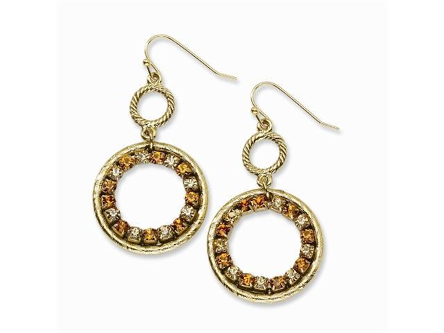 1928 Gold-tone Light & Dark Colorado Crystal Dangle Earrings