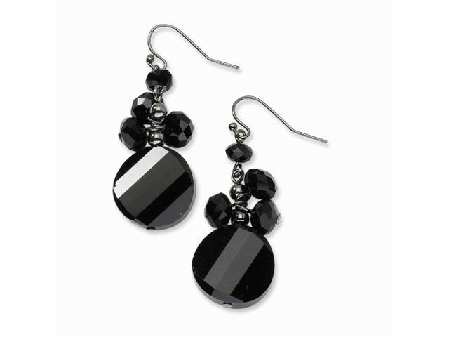 1928 Black-plated Black Crystal Round Drop Earrings