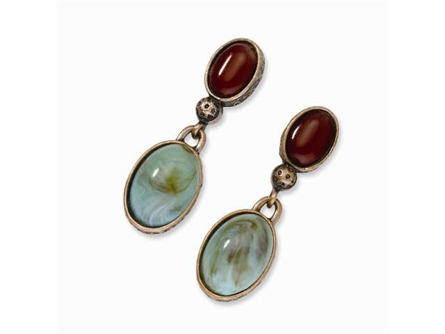 1928 Copper-tone Aqua & Brown Crystal Post Dangle Earrings