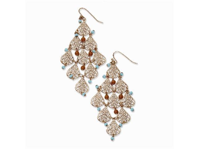 1928 Copper-tone Aqua & Brown Beads Filigree Dangle Chandelier Earrings