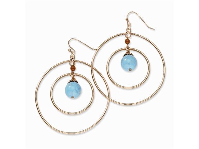 1928 Copper-tone Aqua & Brown Beads Dangle Earrings