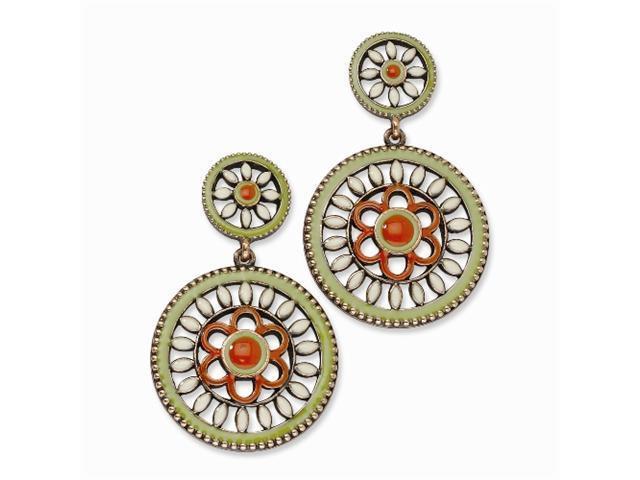 1928 Copper-tone Green, Orange & Ivory Enamel Post Dangle Earrings