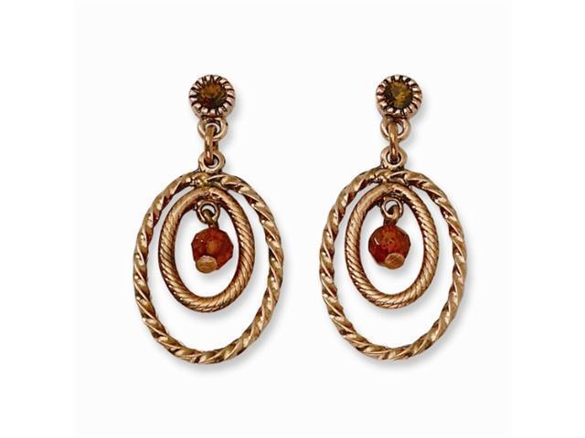 1928 Copper-tone Brown Crystal Post Dangle Earrings