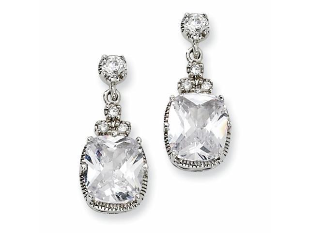 Sterling Silver CZ Dangle Post Earrings