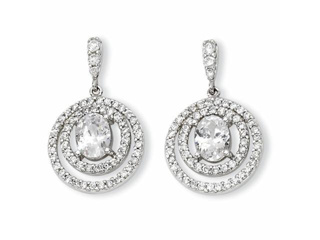 Sterling Silver Circle CZ Dangle Post Earrings