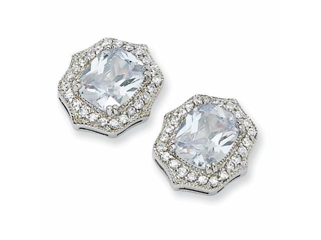 Sterling Silver Asscher-cut CZ Post Earrings
