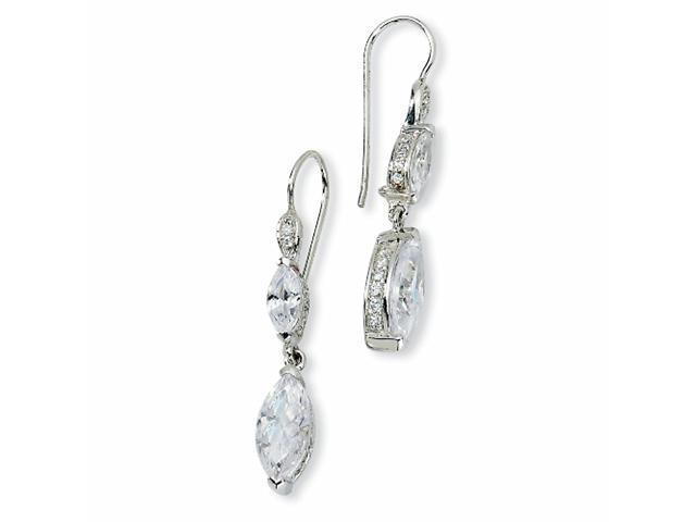 Sterling Silver Marquise CZ Dangle French Wire Earrings