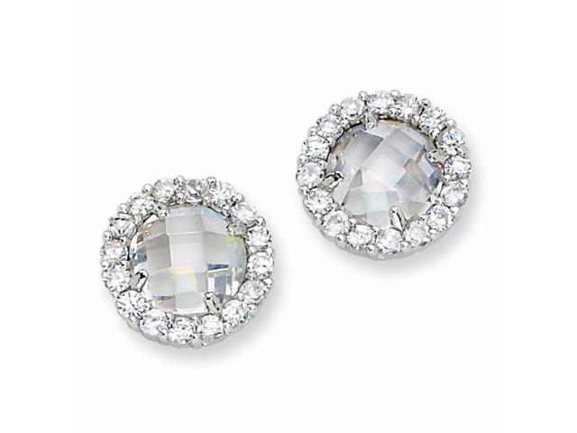 Sterling Silver Checker-cut CZ Round Post Earrings