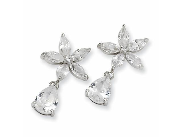 Sterling Silver Pear CZ Floral Dangle Post Earrings