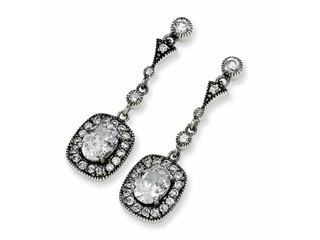 Sterling Silver Oval CZ Antiqued Dangle Post Earrings