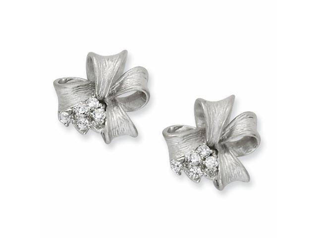 Sterling Silver Satin Finish Bow CZ Post Earrings