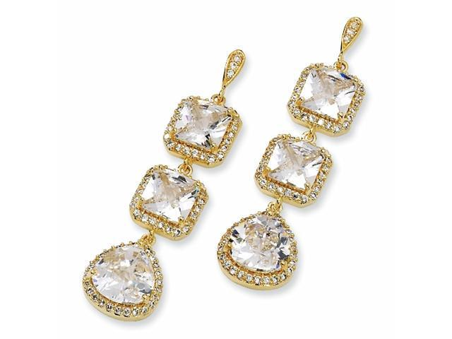 Gold-plated Sterling Silver Rose-cut CZ Dangle Post Earrings