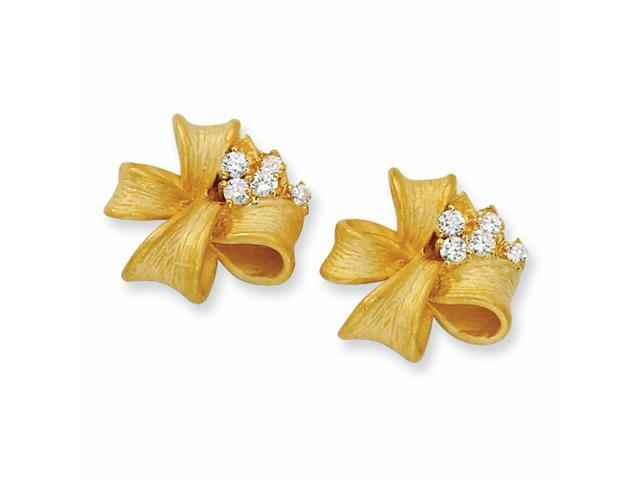 Gold-plated Sterling Silver Satin Finish Bow CZ Post Earrings