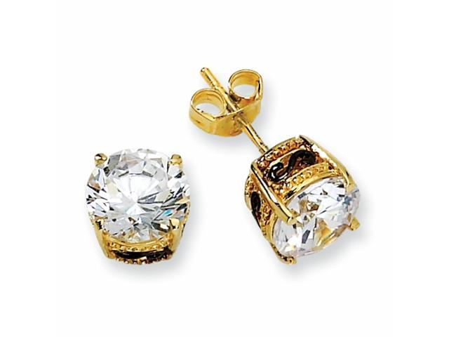 Gold-plated & Black-plated Sterling Silver 8mm CZ Stud Earrings