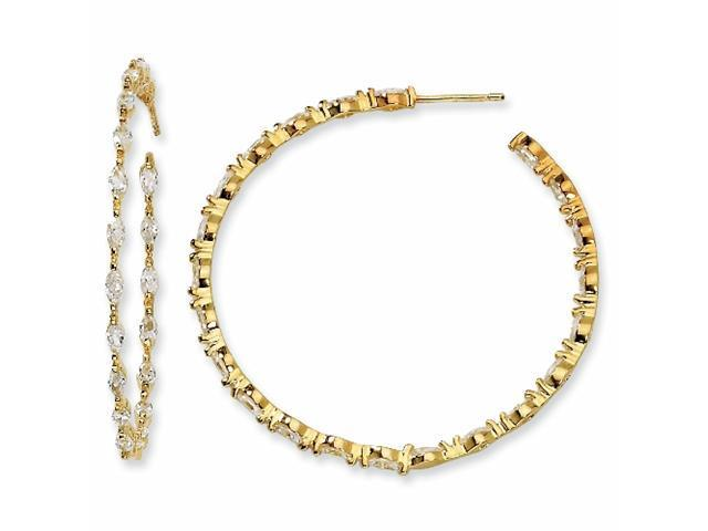 Gold-plated Sterling Silver In/Out Marquise CZ Post Hoop Earrings