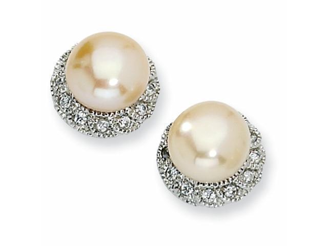 Sterling Silver CZ Pink Cultured Pearl Stud Earrings