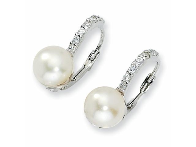 Sterling Silver CZ Cultured Pearl Leverback Earrings